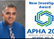 Photo of Dr. Vasudevan and logo of the American Public Health Association
