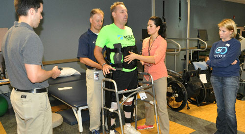 photo of physical therapists with the INDEGO exoskeleton